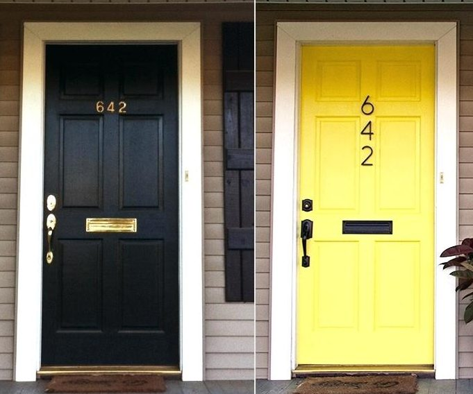 black-front-door-before-painting-and-yellow-front-door-after-painting